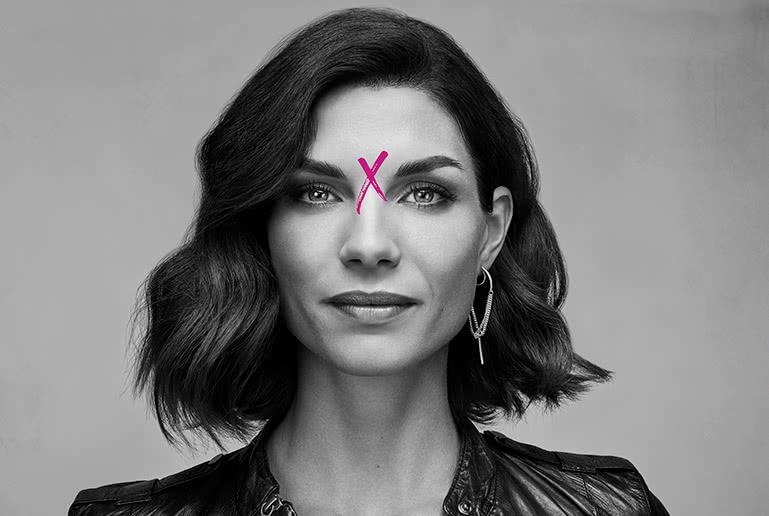woman with xeomin x on head