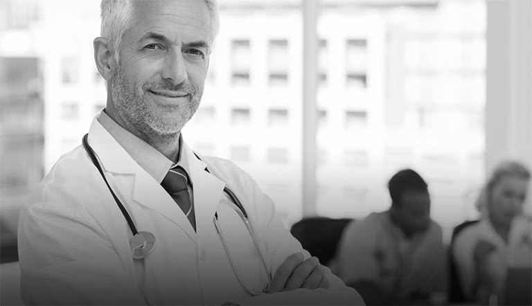Physician with white hair